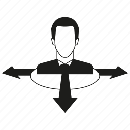arrow, decision, direction, man icon