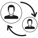 allocation, arrow, business man, people, rotate icon