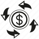 alocation, arrow, coin, dollar, exchange, money icon