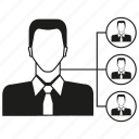 business man, man, organization, organization chart icon