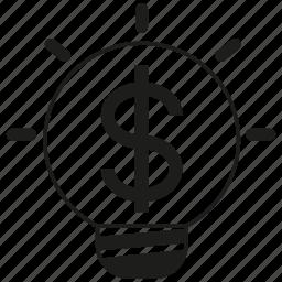 creative, finance, idea, light bulb, mind, money, wealth icon