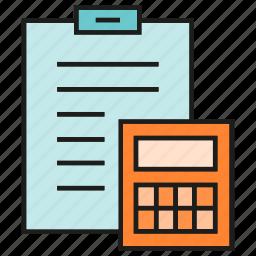 calculator, clipboard, document, finance, office, paper icon
