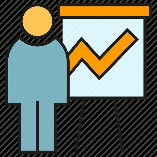 business, graph, office, organization, people, presentation, whiteboard icon