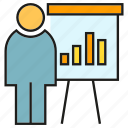 bar chart, business, office, organization, people, presentation, whiteboard icon