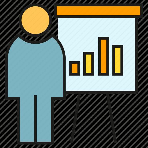 bar chart, business, office, organization, people, presentation, whiteboard icon