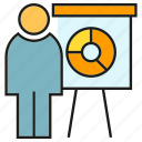 business, office, organization, people, pie chart, presentation, whiteboard icon