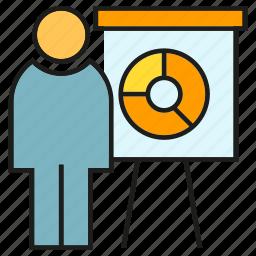 business, office, organization, people, pie chart, presentation, whiteboard icon
