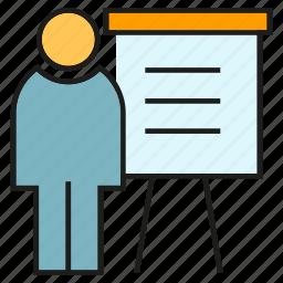 business, management, office, organization, people, presentation, whiteboard icon