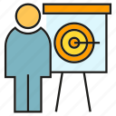 business, dart, office, organization, people, presentation, whiteboard icon