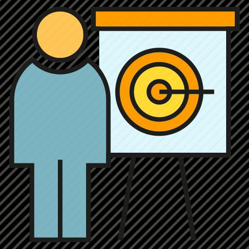 business, dart, office, organization, people, presentation, whiteboard icon