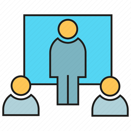 business, lecture, office, organization, people, presentation, whiteboard icon