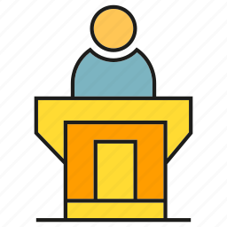 business, conference, office, organization, podium, presentation, speaker icon