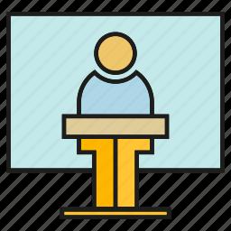 business, conference, leader, organization, presentation, speaker, whiteboard icon