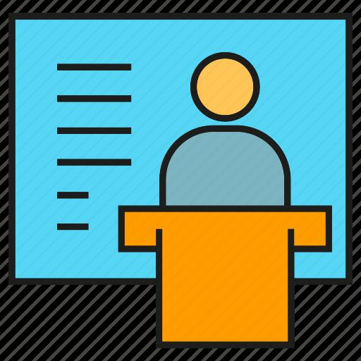 conference, leader, management, organization, people, presentation, speaker icon
