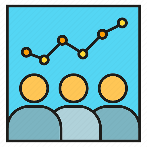 business, conference, monitoring, office, organization, people, stock market icon