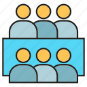 business, group, meeting, office, people, sitting, teamwork icon