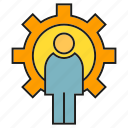 cog, gear, logic, people icon