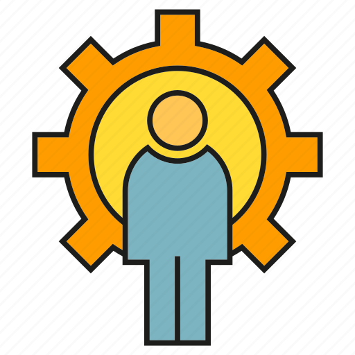 cog, gear, logic, people icon