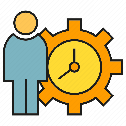 clock, cog, gear, people, time management icon