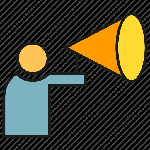 announce, marketing, megaphone, people, speaker icon