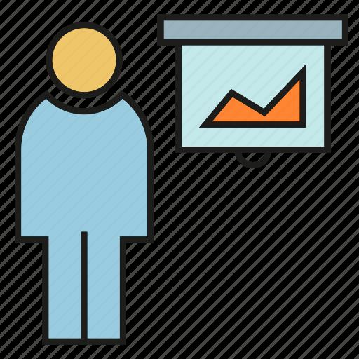 business, chart, office, organization, people, presentation, whiteboard icon