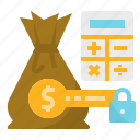 business, control, cost, investment, lock, money, profit, save icon