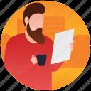 document, documentation, office data, work assessment, work report icon