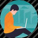 internet working, office work, online work, overseas working, working remotely icon