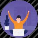 business achievement, success, target meet, work complete, work done icon