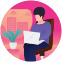 employee working, office worker, working person, working time icon