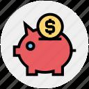 coin, dollar, money, pig, piggy bank, saving icon