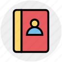 address, address book, book, contact, person, user icon