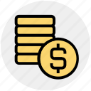 coin, coins, currency, dollar, money, payment icon
