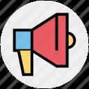 bullhorn, loudspeaker, marketing, megaphone, speaker icon