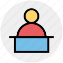 desk, man, office, person, worker, working, workplace icon