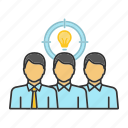 brainstorming, idea, lightbulb, people, target, team, teamwork icon