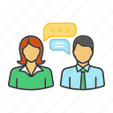 business, chat, chatting, message, people, speech bubble, texting icon