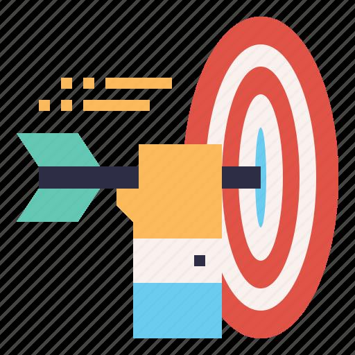 aim, arrow, goal, hit, objective, success, target icon