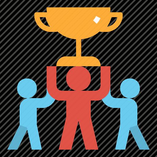 achieve, award, success, team, teamwork, trophy, win icon