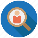 employee, recruit, search icon