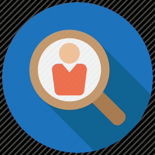 employee, recruit, search icon