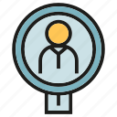 business, human resource, magnifier, people, recruitment, search, worker icon