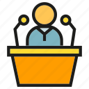 business, conference, leader, people, podium, public, speaker icon