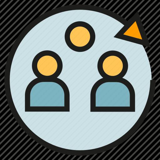 arrow, group, people, team icon