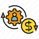 allocation, finance, fund, gear, manpower, money, rotate icon