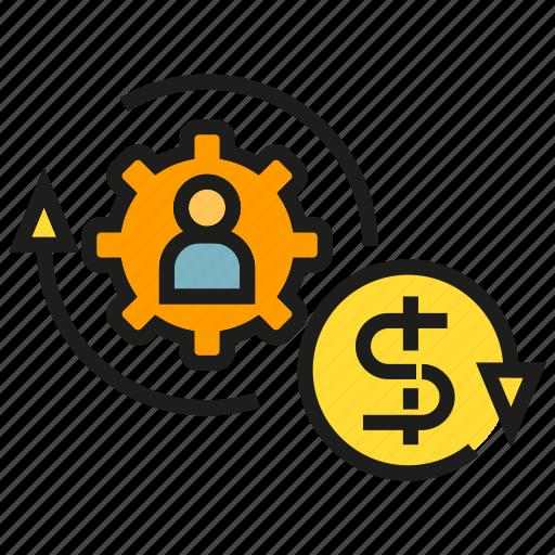 allocation, finance, fund, gear, manpower, money, rotate icon
