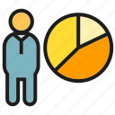 data, market share, people, pie chart, presentation icon