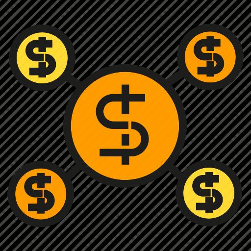 connection, dolar, finance, fund, link, money, network icon