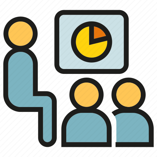 conference, meeting, office, people, pie chart, presentation, training icon