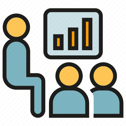 graph, lecture, office, people, presentation, training, worker icon